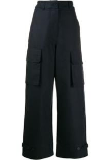 Maison Kitsuné High Waisted Utility Trousers - Azul