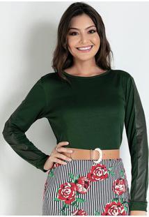 Blusa Com Recorte Verde Moda Evangélica