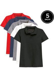 Kit De 5 Camisas Polo De Várias Cores Feminino - Feminino-Cinza+Vermelho