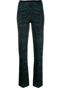 Missoni Calça De Tricô Com Estampa De Zebra - Azul