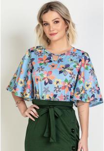Blusa Floral Com Mangas Amplas Moda Evangélica