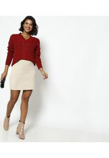 Ponto Aguiar Blusa Tricã´ Com Cordã£O Tranã§Ado Vermelha
