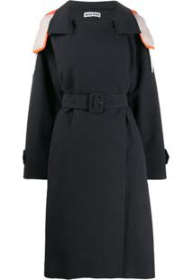 Besfxxk Trench Coat Com Capuz - Preto