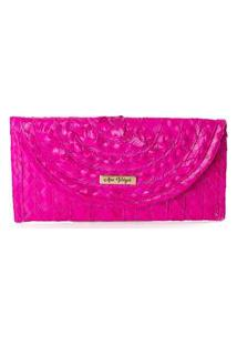 Carteira Clutch Palha Natural Artesanal Imã Casual Prático Pink Rosa