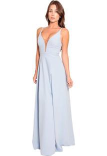 Vestido Izad Longo Em Crepe Com Tule Illusion Azul Claro