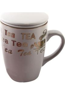 """Caneca Com Infusor Vintage """"Tea""""- Off White & Dourada"""