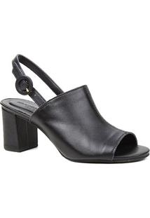 Sandália Couro Shoestock For You Salto Bloco Médio Feminina - Feminino-Preto