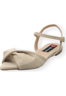 Sandália Rasteira Love Shoes Bico Folha Nó Torcido Areia - Kanui