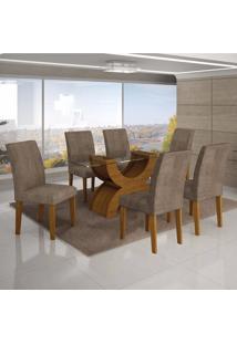 Conjunto Sala De Jantar Mesa Tampo Vidro 180Cm E 6 Cadeiras Olímpia New Leifer Imbuia Mel/Animale