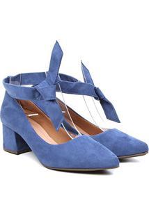 Scarpin Griffe Salto Baixo Amarração Feminino - Feminino-Azul