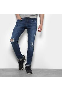 Calça Jeans Skinny Calvin Klein Rasgo Joelho Masculina - Masculino