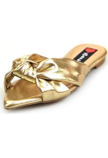 Sandalia Love Shoes Rasteira Bico Folha Nó Metalizadas Dourada