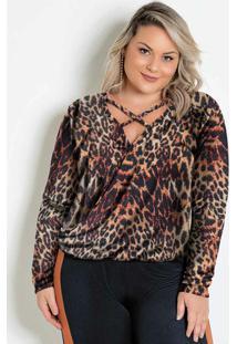 Blusa Plus Size Transpassada Onça Com Tiras