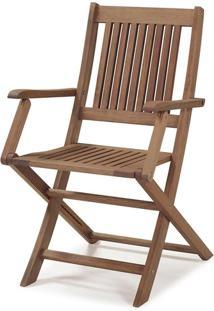 Cadeira Dobrável Com Braços Madeira Eucalipto Castanho