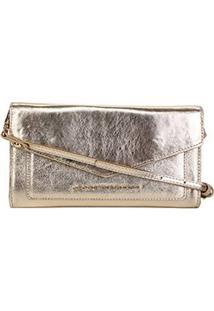 Bolsa Couro Jorge Bischoff Clutch Estruturada Envelope Verniz Feminina - Feminino-Ouro