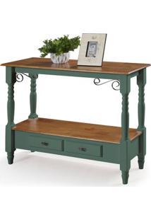 Aparador Elegance Azul Verde Musgo Tampo Imbuia 2 Gavetas Pes Torneados 116Cm - 59860 - Sun House