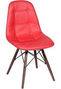Cadeira Eames Botonãª- Vermelha & Madeira Escura- 83Xor Design