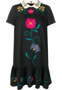 Red Valentino Vestido Reto Com Bordado Floral - Preto