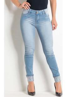 Calça Cigarrete Jeans Com Estampa Frontal