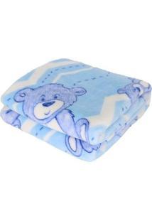 Cobertor Bebe Prime Flannel Hazime Azul Urso Bear - Kanui