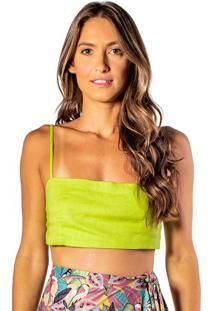 Blusa Cropped Com Botões - Verde Limão - Fleeuse Flee