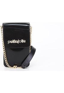 Porta Celular Petite Jolie Glitter - Feminino-Incolor+Preto