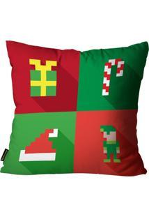 Capas Para Almofada Premium Cetim Mdecore Natal Presente Vermelha 45X45Cm