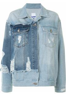 Sjyp Jaqueta Jeans Com Recorte Destroyed - Azul