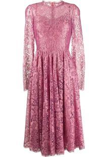 Dolce & Gabbana Vestido Com Renda Floral - Rosa