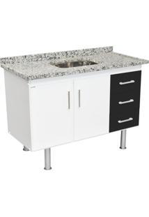 Balcão De Cozinha Primax 2 Pt 3 Gv Branco E Preto