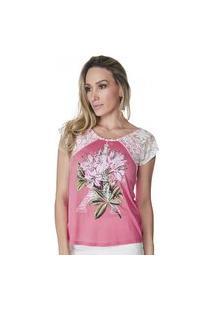 T-Shirt Celestine Rosa Manga De Renda