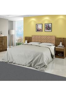 Cabeceira Extensível Com Criado Mudo Madeira Rústica/Madeira 3D - Móveis Bechara