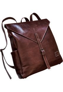 Mochila Line Store Leather London Couro Marrom Avermelhado