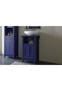 Armário Compacto De Madeira Para Banheiro Mission - Balcão Menor Rústico Para Lavabo Cor Azul Escuro - 53X42X85Cm