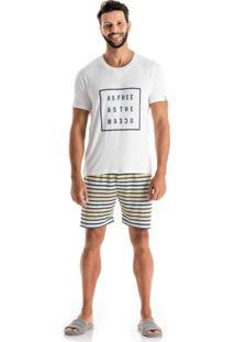 Pijama Marcelo Mg Curta Amarelo/P
