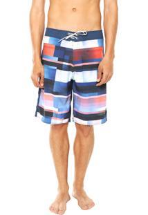 Bermuda Água Calvin Klein Jeans Reta Azul/Branca
