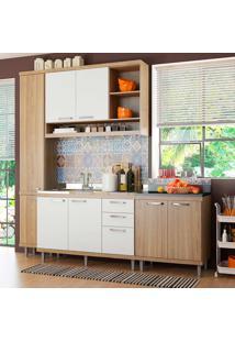 Cozinha Compacta Sem Tampo 4 Peças 5812-S7 Sicília - Multimóveis - Argila Acetinado / Branco Acetinado