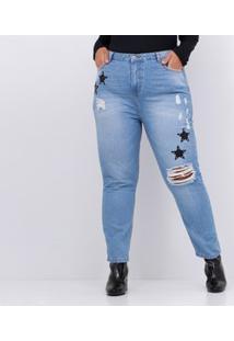 0373e48f8cc0 Lojas Renner. Calça Jeans Mom Com Puídos Curve & Plus Size