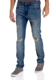 Calça John John Skinny Oxford Jeans Azul Masculina (Jeans Medio, 36)