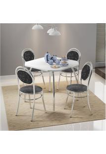 Mesa 1504 Branca Cromada Com 4 Cadeiras 190 Fantasia Preto Carraro