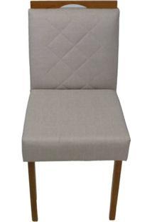 Cadeira Bruna Linho Bege Com Puxador Base Mel 46Cm - 57892 - Sun House