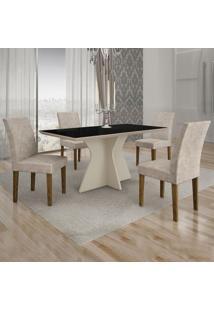 Conjunto De Mesa De Jantar Creta Com 4 Cadeiras Olímpia Suede Preto E Palha