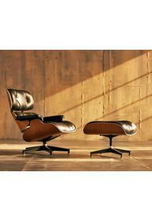 Poltrona E Puff Charles Eames - Imbuia - Couro Preto