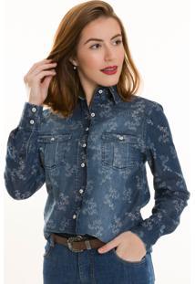 Camisa Jeans Olimpo Camisaria Com Flores Manga Longa Azul