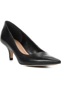 9b1d9ecdaa ... Scarpin Couro Shoestock Salto Baixo Bico Fino - Feminino-Preto