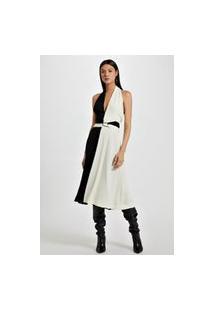 Vestido De Crepe Midi Bicolor Camurça - 36