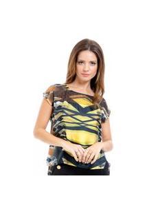 Blusa Estampada 101 Resort Wear Tunica Amarela