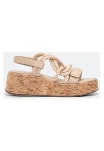 Sandália Com Tiras Em Corda Trançado E Salto Flatform | Satinato | Bege | 38