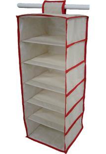 Organizador Cabideiro Vertical Organibox De 92X30X28Cm - Vermelho - Tricae