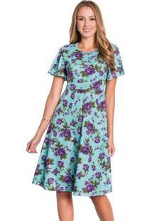 Vestido Evasê Floral Com Fenda Moda Evangélica